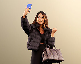 3D asset Elli 11959 - Colored Woman Taking A Selfi With