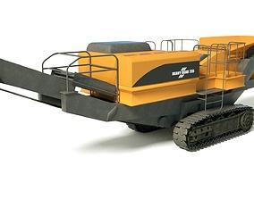 3D model Heavy Conveyor Belt Shredder Truck Dusty Yellow 1