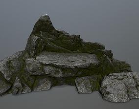 mosy rocks 3D asset game-ready