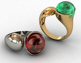 silver Garnet-Mozambique Ring 3D print model