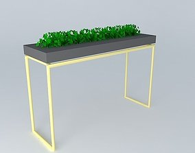 3D Skinny gold legs bar table with plant