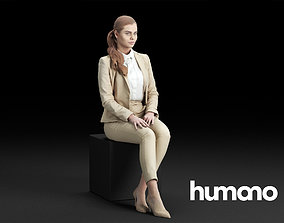 3D Humano Elegant Business Woman Stitting and looking 0118