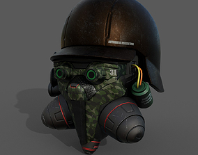 Helmet gas mask scifi military combat fantasy 3D model