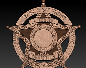 ornate 3d STL Model Sheriff badge