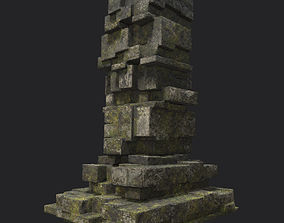 3D asset Low poly Ruin Temple Block 10 181116