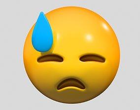 Emoji Downcast Face with Sweat 3D