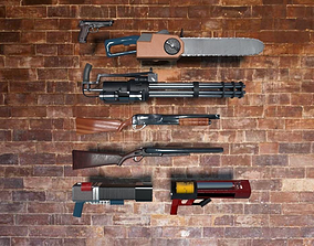 Classic Shooter Weapons Pack 3D asset