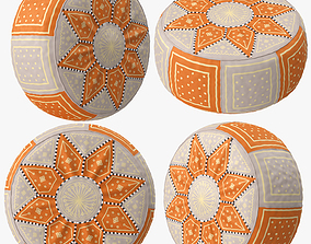 3D Beige Orange Moroccan Leather Pouf