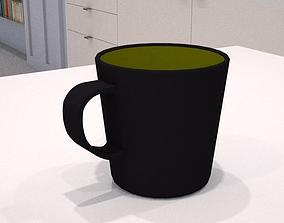 3D asset black and olive green mug