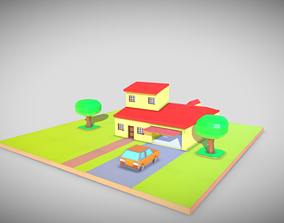 3D print model little toy house made with blocks