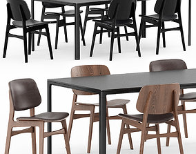 Chair Soborg Wood Base and Mesa Table by 3D model