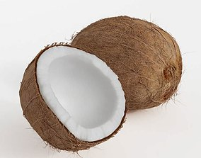 3D model One Whole Coconut And One Half Of A Coconut