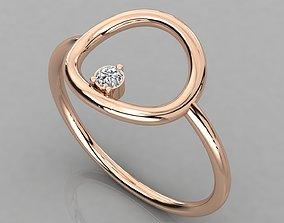 sterling Women solitaire ring 3dm render