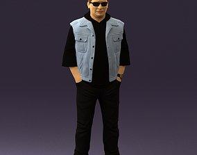 3D model Man in jeans jacket sunglasses 0710