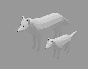 Cartoon Polar Wolf Family 3D model low-poly
