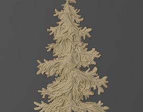 Fir tree bas relief bas relief for CNC 3D print model