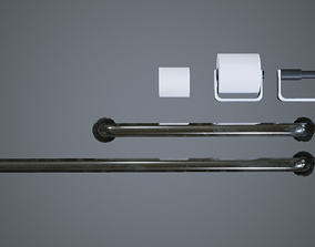 Bathroom Items icluding Rails Toilet Roll 3D asset 2