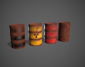 Toxic Waste Hazardous Barrels 3D model