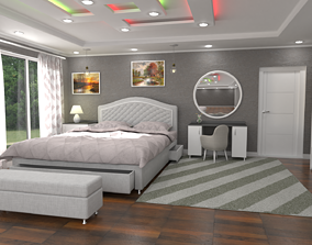 3D asset VR / AR ready Comfortable bed room