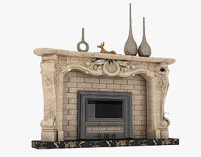 3D asset game-ready fireplace