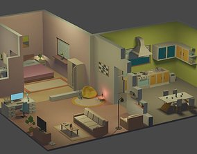 3D model Isometric low poly house