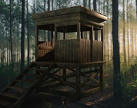 3D asset Watchtower - Hunter Cabin - Wood and Military 3