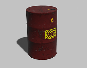 Old red barrel 3D asset game-ready