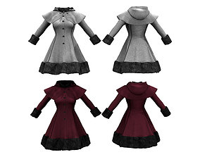 3D asset Closed Front Winter Coat With Cape