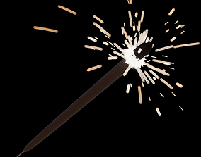Sparklers animated 3D asset