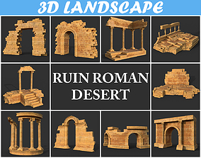 3D Low poly Ancient Roman Ruin Construction Pack - Desert