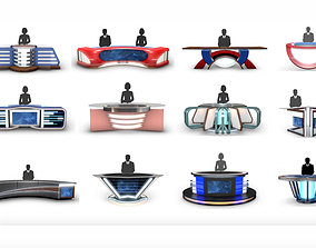 3D model Virtual TV Studio News Desk Collection 12