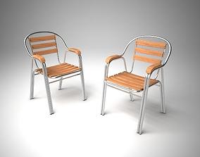 rental 3D model Aluminum Wood Chair