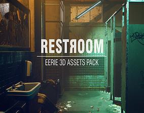 3D model VR / AR ready Creepy Public Bathroom Asset Pack
