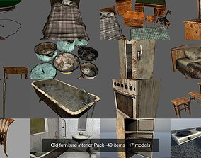 Old furniture interior Pack--49 items 3D