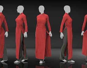 3D Marvelous Designer Clothes - Red Chongsam