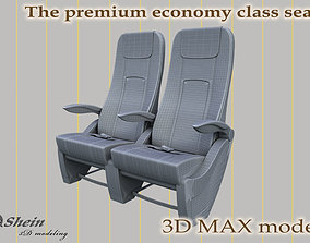 The premium economy class seat with stitches 3D