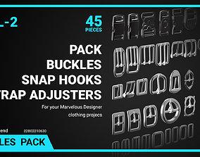 3D asset Buckles Snap Hooks Strap Adjusters Pack Vol 2