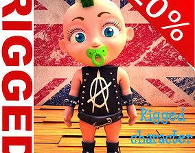 Punk baby Cartoon Rigged 3D