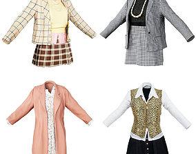 3D model 4 Classic Vintage 90s Outfits Women Fashion