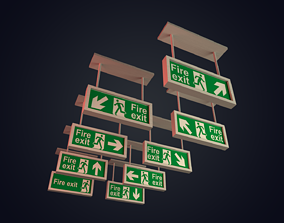 Fire Exit Signs Low Polygon 3D model