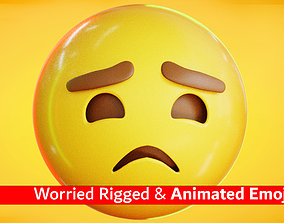 3D asset Worried Face Animated Emoji