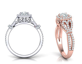 Petite Cushion Halo ring 3dmodel with 5mm round