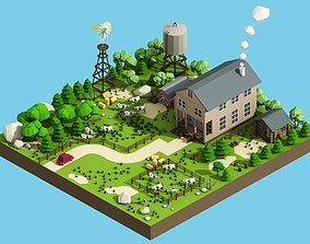 grass 3D model low poly farm