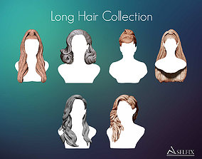 Long Hairstyle Collection sculpture 3D model