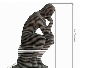 The parametric model of the statue of Rodin elegant 3D