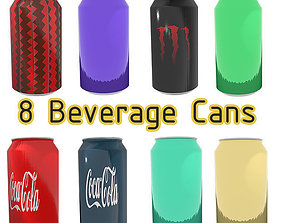 Beverage Can Pack with PBR Textures 3D model