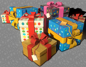 low-poly 3D Birthday Presents - Game Ready