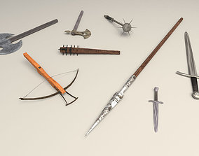 3D model medieval weapons pack