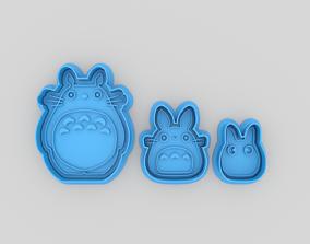 3D print model Totoro trio set cookie cutters