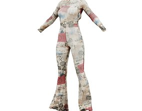 Open Back Newspaper Flared Catsuit 3D model